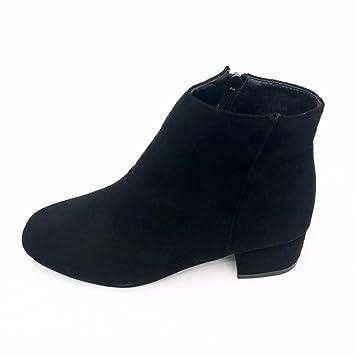 XINANTIME - Zapatos de mujer Botas Mujer Botines para Mujer Otoño Botas de tacón plano con cremallera, Botines para Mujer (38, Negro): Amazon.es: Hogar