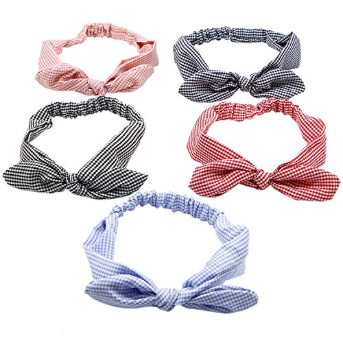IDS 5Pcs Cute Elastic Solid Bunny Ears Headband/Bandana/Turban/Headwrap Yoga Sports Bow Hairband for Women Girls ()