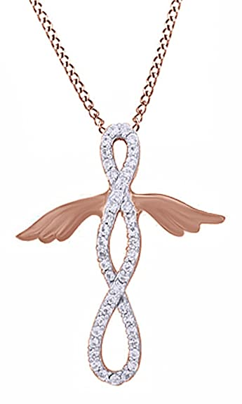 dce9045476b9e9 Amazon.com: Jewel Zone US Simulated White Sapphire Infinity Angel Pendant  Necklace in 14k Rose Gold Over Sterling Silver: Jewelry