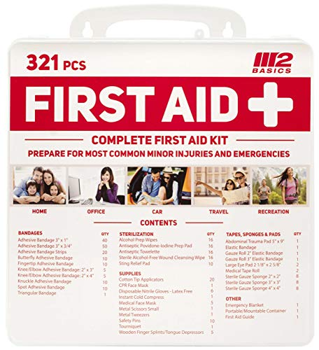 M2 BASICS 321 Piece Emergency First Aid Kit   Wall Mountable Case   Medical Supplies for Home, Office, Car, Travel