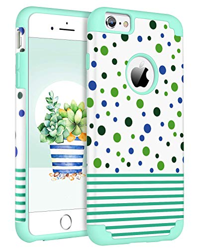 BENTOBEN Case for iPhone 6S & iPhone 6, Slim Dual Layer Hybrid Hard Cover Soft Rubber Bumper Rugged Shockproof Protective Cute Girly Polka Dot Stripe Pattern Design Phone Cases for iPhone 6S/ iPhone 6