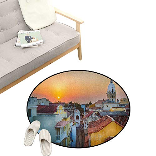 - Sunset Custom Round Carpet ,View Over The Rooftops of The Old City Cartagena Cathedral Colombian Coast Picture, The Custom Round Non-Slip Doormat 47