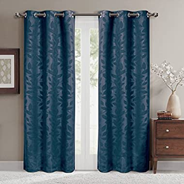 Virginia Navy Grommet Blackout Weave Embossed Window Curtain Panels, Pair / Set of 2 Panels, 37x108 inches Each, by Royal Hotel