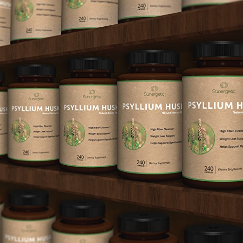Best Psyllium Husk Capsules – 725mg Per Capsule -240 Capsules – Powerful Psyllium Husk Fiber Supplement Helps Support Digestion, Weight Loss and Constipation – Premium Natural High Fiber Cleanser