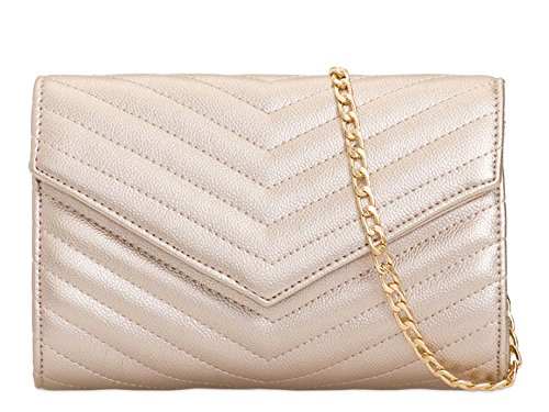 Strap Evening Ladies Faux Bag Clutch Envelope Leather Quilted Champagne Chain XZXCqW