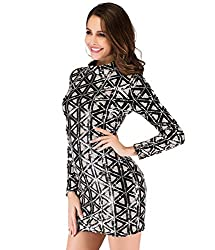Long Sleeve Plaid Sequins Dress In Silver