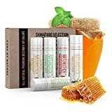 All-Natural Lip Balm Gift Set by Naturistick. 5 Pack Best Beeswax Chapstick for Dry, Chapped Lips with Aloe Vera, Vitamin E, Coconut Oil - for Men, Women and Kids. 5 Flavors. Made in USA.