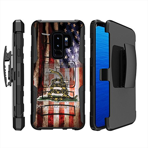 - [Case86] Dual Hybrid Armor for Samsung Galaxy S9+ [Black/Black] Armor Holster Case [SCREEN PROTECTOR INCLUDED] - [Flag Distress]