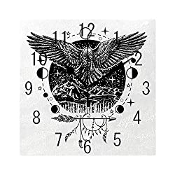MTDKX Square Wall Clock Battery Operated Quartz Analog Quiet Desk 8 Inch Clock, Sketch Tattoo Art Bird Spread Wings with Nature Moon Phases Boho Elements