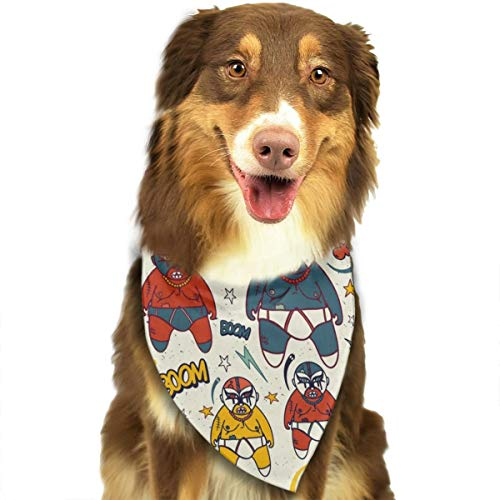 TNIJWMG Mexican Wrestling with Wrestlers Bandana Triangle Bibs Scarfs Accessories for Pet Cats and Puppies