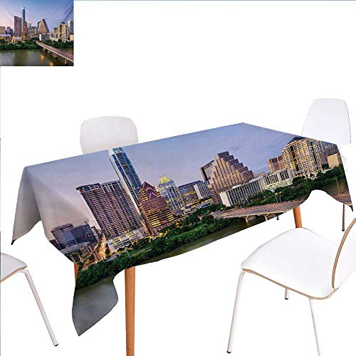 "familytaste Modern Dinning Tabletop Decoration Austin Texas American City Bridge Over The Lake Skyscrapers USA Downtown Picture Table Cover for Kitchen 70""x90"" Multicolor"
