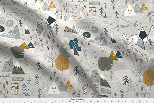 Spoonflower Nouveau Bohemian Fabric - Max's Map (Grey) - Designed by Nouveau_Bohemian - Fabric Printed On Eco Canvas Fabric by The Yard from Spoonflower