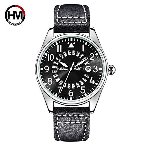 Correa de Cuero de Moda Relojes de Pulsera Hannah Martin HM-KY11-XD Reloj de Pulsera de Cuarzo para Hombre Reloj de Moda de Negocios: Amazon.es: Relojes