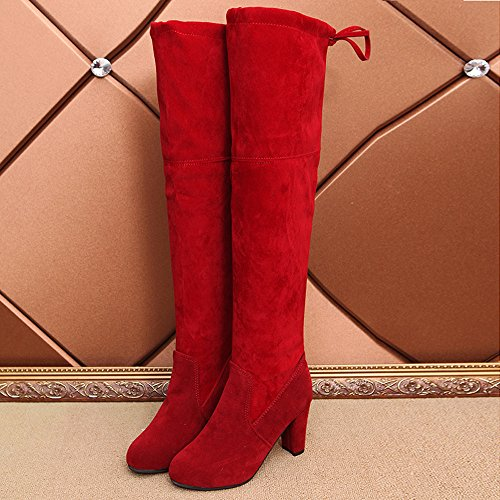 Brezeh Women Boots, Women's Autumn Winter Over The Knee Boots Stretch Slim Leather High Boots Red