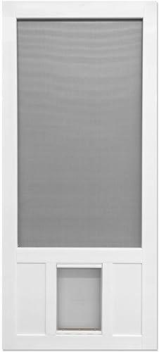 32 in. x 80 in. Chesapeake Series Reversible Solid Vinyl Screen Door with Extra-Large Pet Flap