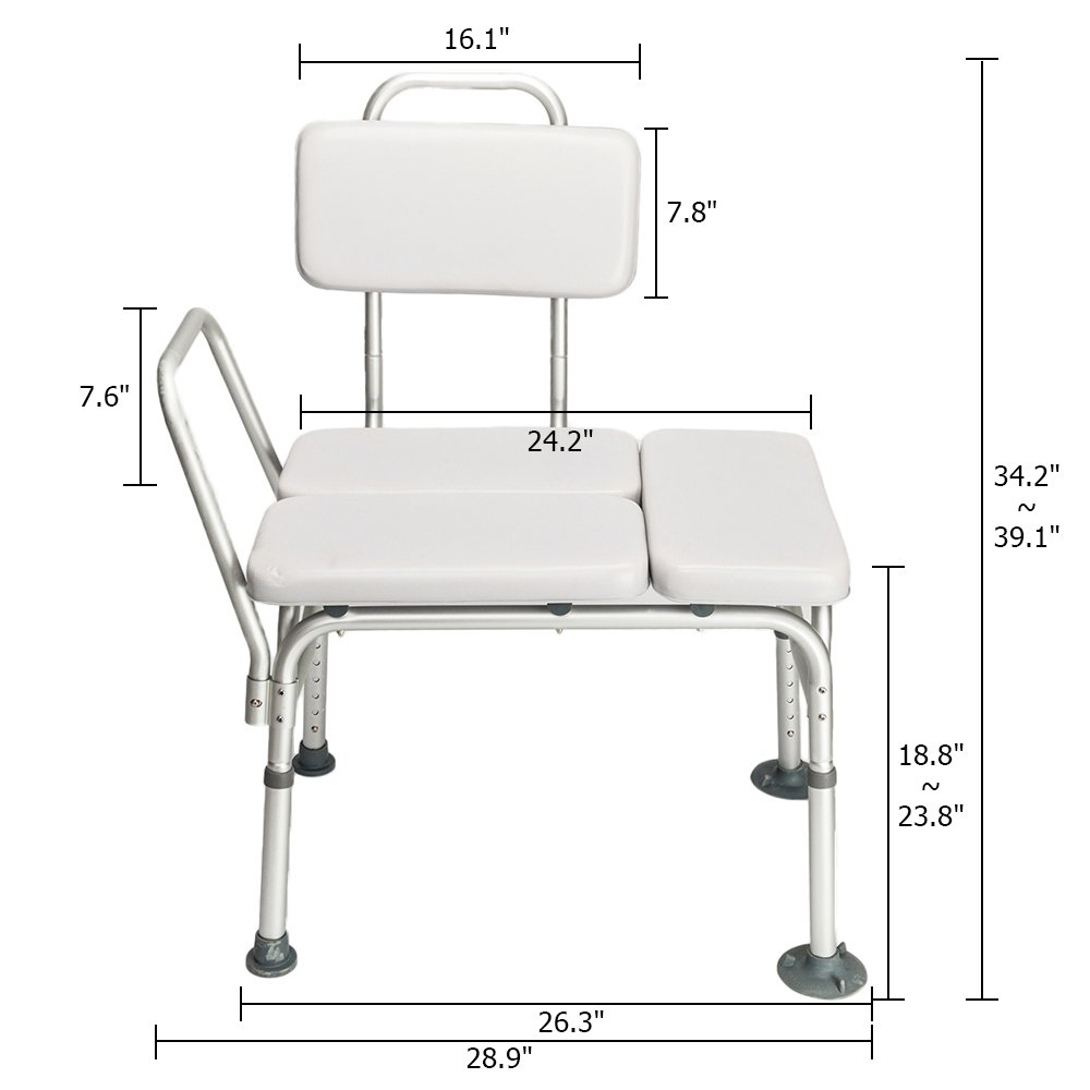 Amazon.com: Mefeir Bath Chair Shower Chair Seat Bench with Arms and Backs,6  Adjustable Height 3 Blow Molding Plates Aluminium Alloy,for Baby Senior  Elderly ...