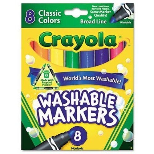 Crayola Broad Line Washable Markers, 8 Markers, Classic Colors Pack of 10 by Crayola