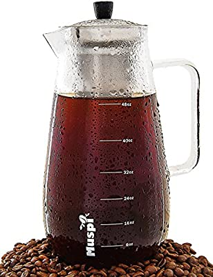 Cold Brew Coffee Maker and Iced Tea Infuser by Muspi - 1.5 Liter (48 Oz) Large Brewing Glass Carafe with Removable Stainless Steel Filter - Superior Alternative to an Cold Drip Coffee Brewer