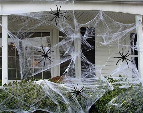 (Hub's Gadget 300ft Fake Spider Web Halloween Party Outdoor Decorations Supplies Stretchable Spider Webs for Halloween)