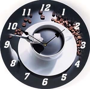 Reloj de pared diseno caf expreso reloj de cocina moderno - Relojes de cocina modernos ...