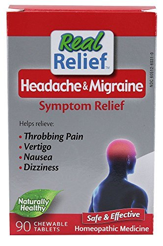- Homeolab USA Real Relief Headache & Migraine Symptom Relief -- 90 Chewable Tablets
