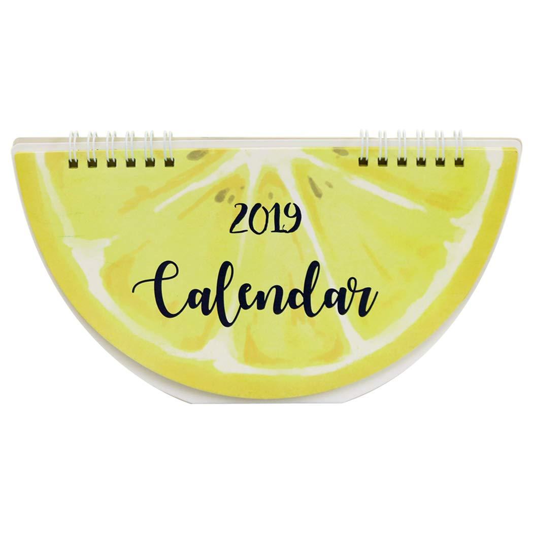 JUSTDOLIFE Calendario da Tavolo Pattern di Frutta Carino 2019 Agenda Giornaliera del Pianificatore per Casa