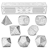 Set of 8 Masterwork Precision Aluminum Polyhedrals with Laser-Etched Strongbox by Wiz Dice - Choose from 8 Anodized Colors (Mithril)