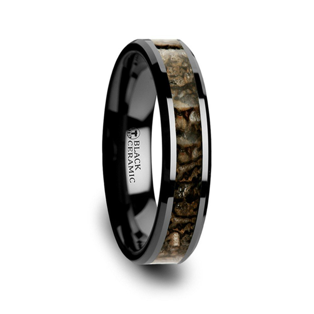 Thorsten Silurian Brown Earthtones Dinosaur Bone Inlay on Black Ceramic Wedding Band Beveled Edged Ring 4mm from Roy Rose Jewelry Size 8.5