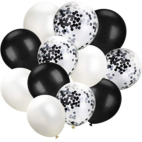 Hestya White Black Confetti Balloons 100 Pack 12 Inch Party Balloons White Black Latex Balloons for Weddings, Birthday Party, Bridal Shower, Party Decoration (White Black, 12 Inch)