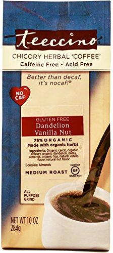 Teeccino Dandelion Vanilla Nut Chicory Herbal Coffee Alternative, Gluten Free, 10 Ounce -