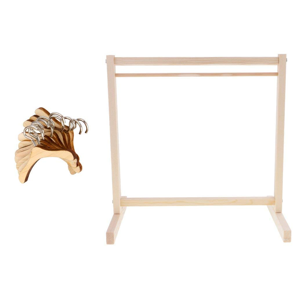 Bamboo Clothes Rack with 10 Pieces Wooden Clothes Hangers for Jacket, Umbrella, Clothes, Hats, Scarf, and Handbags Dolls