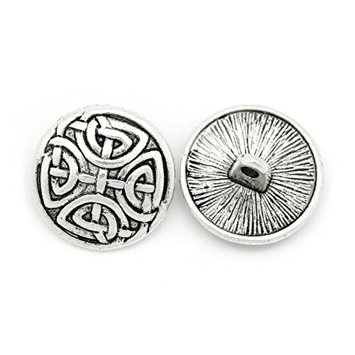 (HOUSWEETY 30PCs Sewing Buttons Silver Tone Round 17mm)