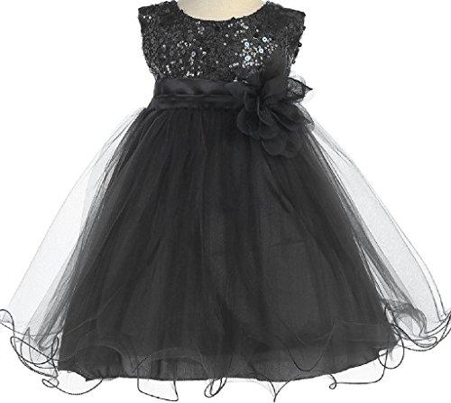 Little Baby Girls Sleeveless Sequin Glitter Little Baby Infant Toddler Flower Girl Dress Black Black Flower XL (Glitter Bubble Dress)