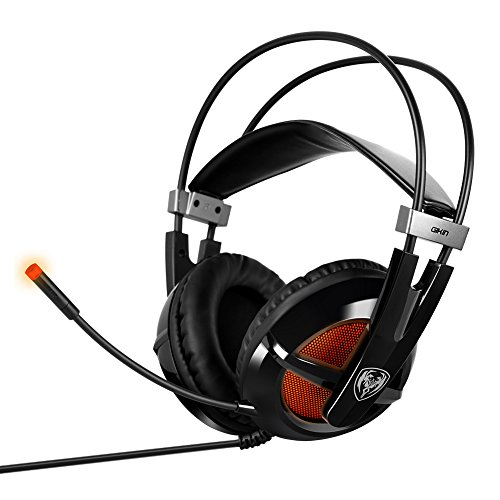 Woopower174; Cool LED Lights Smart Suspension Stereo 7.1 Surround Pro USB Gaming Computer Line Control Headphone Headset with Noise Reduction Microphone (G938(Black)) (Microphone Condensed compare prices)
