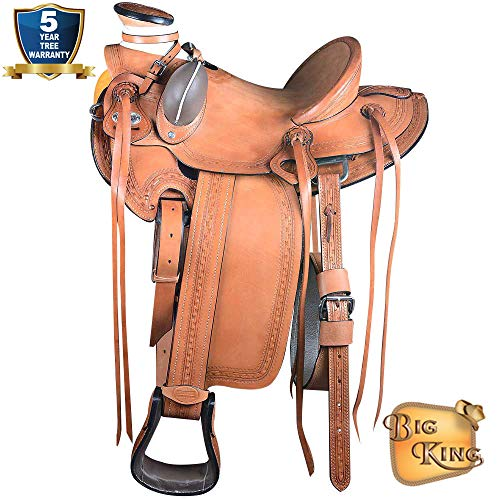 15″ Western Horse Saddle Leather Wade Ranch Roping Oiled by Hilason D060
