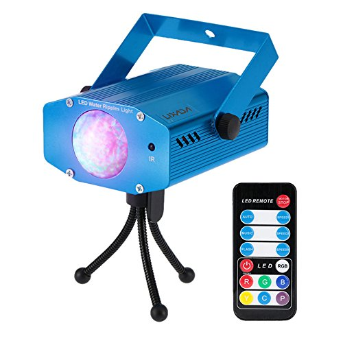 Lixada 9W Stage Light Color Changing Mini LED Water Wave Ripple Effect Lamp with Controller for DJ Disco