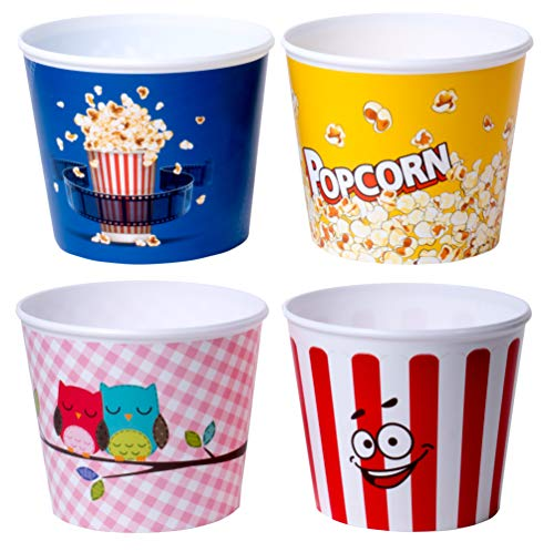 (Red Co. Nesting Movie Theather Themed Popcorn Buckets - Set of 4 - Assorted Designs)