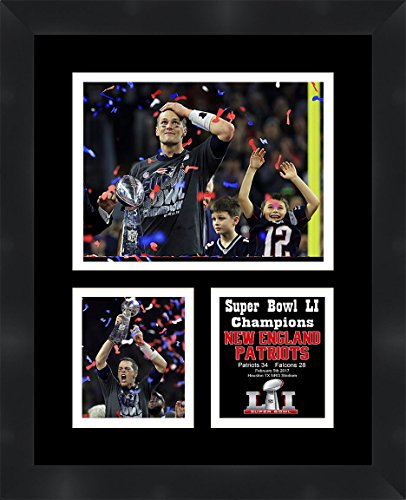 Tom Brady Pictures (Frames By Mail TP04-11-00-SB2017-4 Tom Brady Super Bowl Li (51) 2016 Matted & Framed Photo Collage, 11
