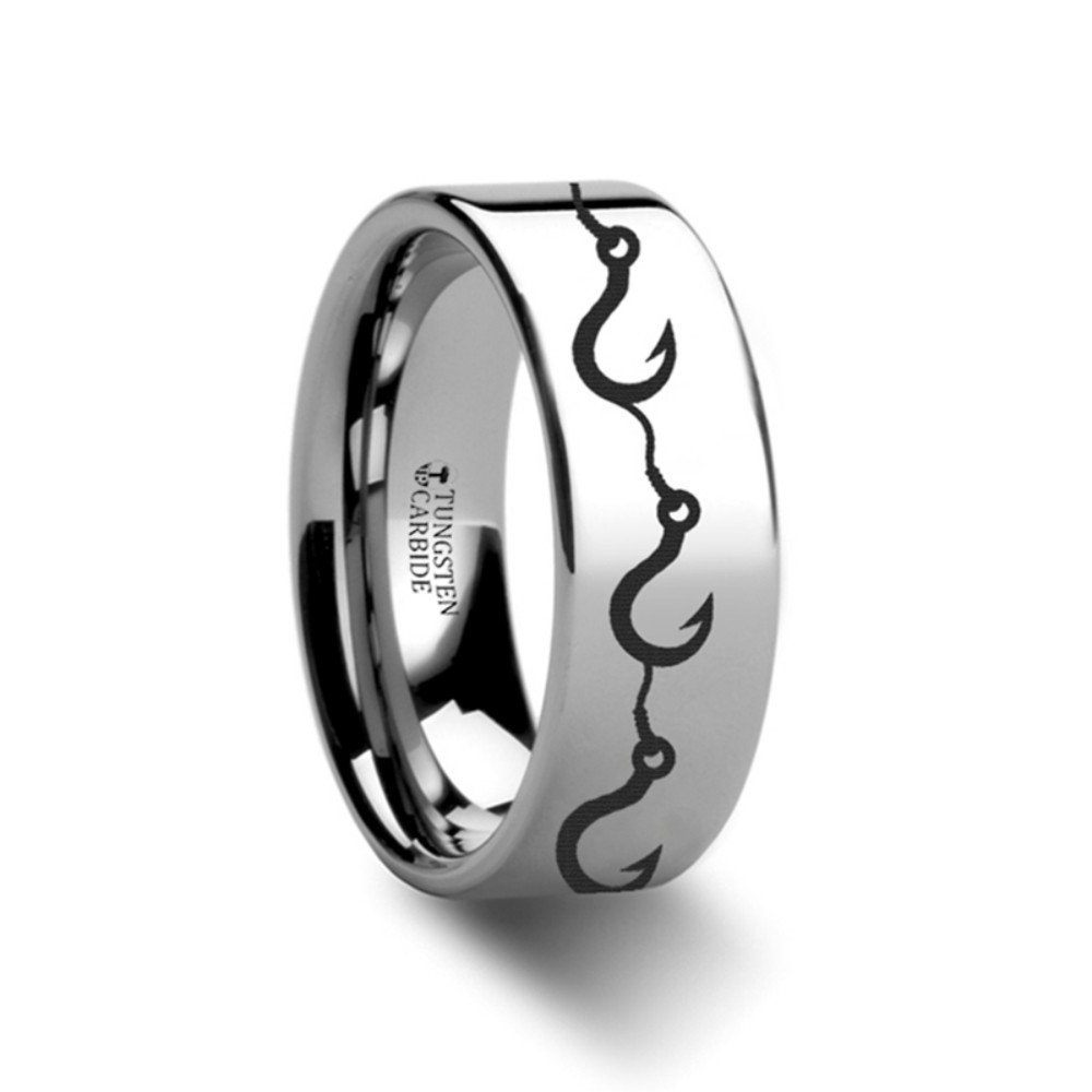 Thorsten Multiple Fishing Hook Pattern Ring Flat Tungsten Ring 4mm Wide Wedding Band from Roy Rose Jewelry
