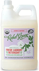 Rebel Green Natural Laundry Detergent, Organic and Hypoallergenic Liquid Laundry Soap for Sensitive Skin - Lavender & Grapefruit Scented, 64 Loads