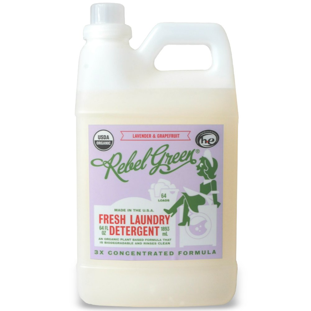 Rebel Green Natural Laundry Detergent, Certified Organic and Hypoallergenic Liquid Laundry Soap for Sensitive Skin - Lavender & Grapefruit Scented, 64 Loads