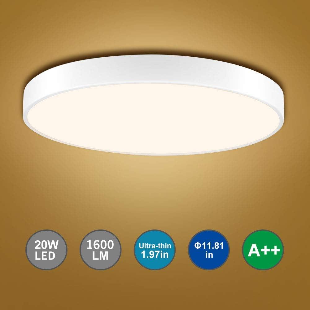 Bellanny LED Plafonnier 28W 2240LM Plafonnier LED 6000K Rond 40 CM,Plafonnier LED Rond Lampes de Plafond Blanc froid,Salle de Bain,Chambre,Couloir,Cuisine