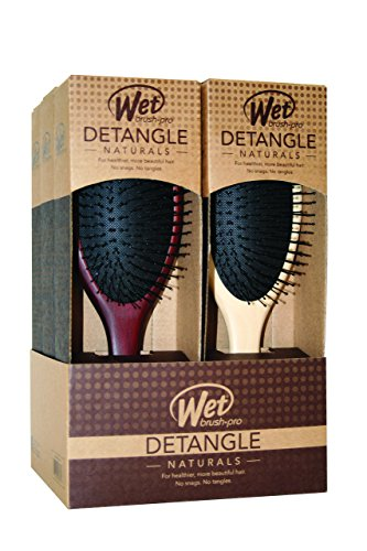 Set of 18 Wet Brush Natural Wood Collection Salon Hair Brushes in 3 Displays Total + Free YS Park Chignon Clips ($13 value) by Wet Brush