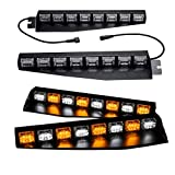 TASWK 48 LED Visor Light Windshield Emergency Strobe Light Warning Lightbar Beacon Split Mount Deck Dash Lamp a Pair(Amber and White)