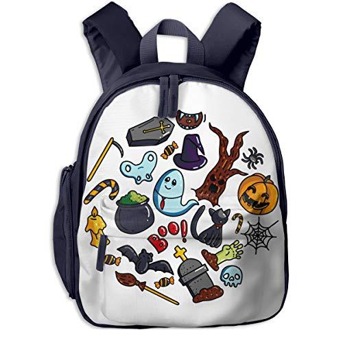 Halloween Circle Pattern Double Zipper Waterproof Children Schoolbag With Front Pockets For Kids Boy Girl ()