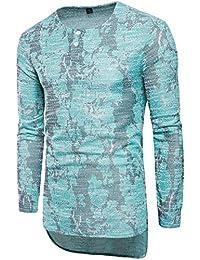 Men Slim Print Crewneck Asymmetric Buttons Long Sleeve T-Shirts