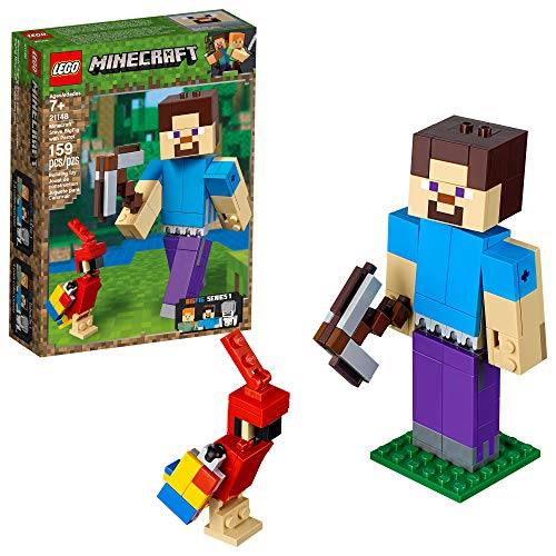 LEGO Minecraft Steve BigFig with Parrot 21148 Building Kit , New 2019 (159 Piece)]()
