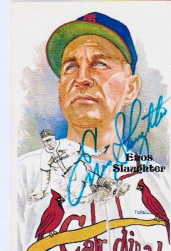 Enos Slaughter Autographed Signed Cardinals Perez Steele Art Postcard PSA/DNA Authentic