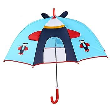 Paraguas plegable Sombrilla para niños dibujos animados para niños Escuela primaria Niños y niños Manual para modelado tridimensional manijas largas (Color ...