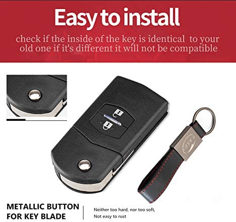 Cover Key Shell for Mazda support de batterie petit Fob Case Flip Folding Remote Key 2 Buttons for Mazda 3 5 6 M6 RX8 MX5 CX5 with Keyring KASER